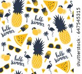 summer pattern. watermelon ... | Shutterstock .eps vector #647545315