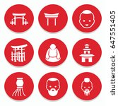 set of 9 asian filled icons...