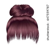 bun hairs with fringe copper... | Shutterstock .eps vector #647559787