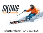 young man riding on skis on... | Shutterstock .eps vector #647560165