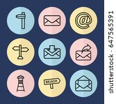 set of 9 post outline icons... | Shutterstock .eps vector #647565391