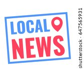 local news. badge with pin map... | Shutterstock .eps vector #647565931