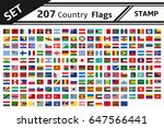 set 207 country flags stamp | Shutterstock .eps vector #647566441