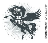 horse silhouette with wings ... | Shutterstock .eps vector #647568349