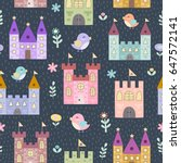 fantasy castles and little... | Shutterstock .eps vector #647572141