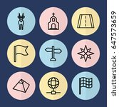 set of 9 map outline icons such ...   Shutterstock .eps vector #647573659