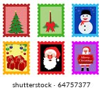 Christmas post stamps, vector illustration - stock vector