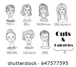 hand drawn various hairstyles.... | Shutterstock .eps vector #647577595