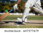 low section of cricket player... | Shutterstock . vector #647577679