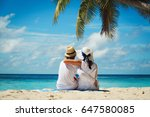 happy loving couple on tropical ... | Shutterstock . vector #647580085