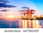 containers loading by crane in... | Shutterstock . vector #647581429