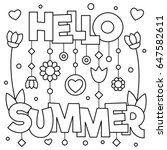Hello Summer. Coloring Page....