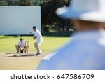 rear view of umpire standing at ...   Shutterstock . vector #647586709