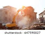 Bulldozer demolished old building.