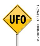 road sign ufo  spaceship ahead | Shutterstock .eps vector #647596741