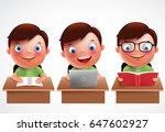 boy kid vector characters set.... | Shutterstock .eps vector #647602927