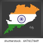 odisha map with indian national ...   Shutterstock .eps vector #647617669