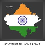 rajasthan map with indian...   Shutterstock .eps vector #647617675
