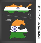 diu and daman map with indian...   Shutterstock .eps vector #647617681