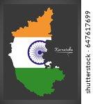 karnataka map with indian...   Shutterstock .eps vector #647617699