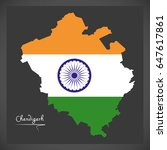 chandigarh map with indian...   Shutterstock .eps vector #647617861