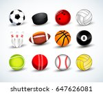 sports balls vector set. hockey ... | Shutterstock .eps vector #647626081