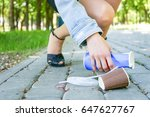 female hands picking up trash... | Shutterstock . vector #647627767