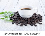 coffee beans  cup of coffee and ... | Shutterstock . vector #647630344