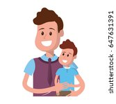 nice father carrying his son in ... | Shutterstock .eps vector #647631391