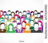 big group unrecognizable people.... | Shutterstock .eps vector #647634481