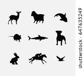 animals silhouette icons set | Shutterstock .eps vector #647635249