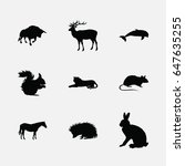 animals silhouette icons set | Shutterstock .eps vector #647635255