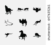 animals silhouette icons set | Shutterstock .eps vector #647635261