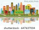 philadelphia skyline with color ...   Shutterstock .eps vector #647637034