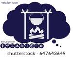 pot on bonfire icon vector... | Shutterstock .eps vector #647643649