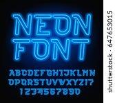 neon tube alphabet font. blue... | Shutterstock .eps vector #647653015