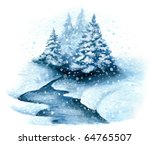 A Cluster Of Snowy Trees By A...