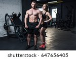 young fit couple in sportswear... | Shutterstock . vector #647656405