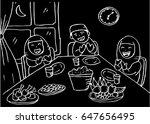 illustration of muslim family... | Shutterstock .eps vector #647656495