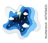 paper art concepts and rain | Shutterstock .eps vector #647656621