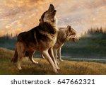 a pair of wolves | Shutterstock . vector #647662321