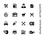 gas station icons    black... | Shutterstock .eps vector #647662495