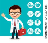 doctor holding first aid box.... | Shutterstock .eps vector #647664181
