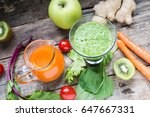 detox juice and smoothie | Shutterstock . vector #647667331