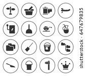 set of 16 filled icons such as... | Shutterstock .eps vector #647679835