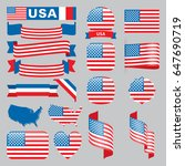 set of usa maps  flags  ribbons ...   Shutterstock .eps vector #647690719