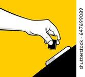 hand throwing battery in... | Shutterstock .eps vector #647699089
