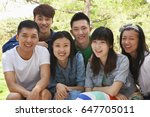 group of chinese friends... | Shutterstock . vector #647705011