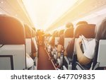 interior of airplane with... | Shutterstock . vector #647709835