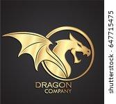 3d Golden Dragon Circle Logo